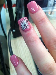 Feather acrylic nail design