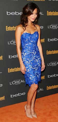 Jamie Chung in strapless blue lace Oliver Tolentino cocktail dress