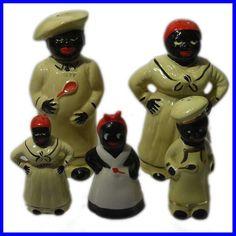 5x Vintage Negro, Black Americana Maid & Chef Salt & Pepper Shakers - eBay Seller ID:  Phantom*SF