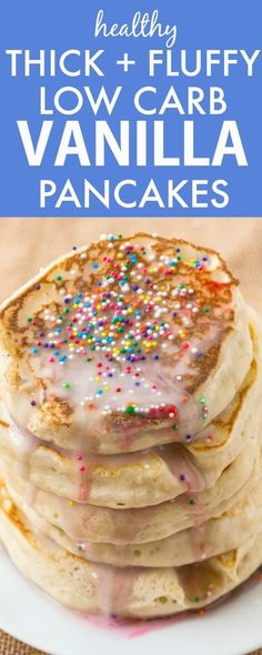 Healthy Thick and Fluffy Low Carb Pancakes which are SO easy, delicious and low in calories but you wouldn't tell- The best low carb pancakes out there! {grain free, gluten free, paleo recipe}- thebigmansworld.com