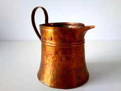Vintage hand hammered Copper Serving Coffee Pot with by Vesiii