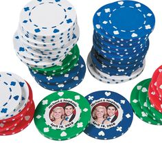 Custom Photo Poker Chips. These favors are a sure bet! Use these poker chips as wedding favors or casino party favors. Personalize with 2 lines of up to 20 characters/spaces per line plus a digital photo. Includes 25 each of green, red, white and blue chips. Plastic. (100 pcs. per unit)