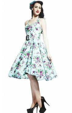 New Hellbunny dresses have arrived! Blue May Day Dress with purple and green floral print, hatler top, matching belt, and full circle skirt. #Abernathys #vintage #handmade #fashionfeature #hellbunny #pinupgirl #pinup #rockabilly #vintagestyle #vintagefashion (at Abernathy's)