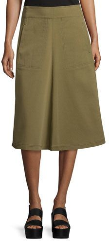 T by Alexander Wang Washed Twill A-Line Midi Skirt, Fatigue