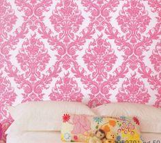 Damask Princess Ultra Pink Kids Wallpaper | designyourwall.com