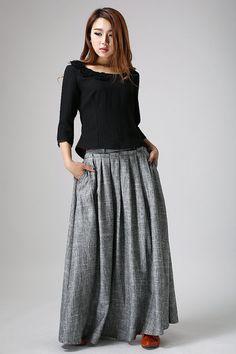 Gris Maxi falda larga de lino plisado falda mujer por xiaolizi