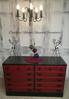 Dresser in Lamp Black and Holiday Red Milk Paint