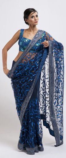 Blue & Aqua Net Saree from House of Raaj Collection 2012
