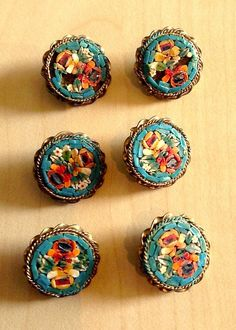 This is a rare set of six antique micro mosaic buttons with brass backs. Each measures inches in diameter. Some have a few missing pieces of mosaic as shown in the photo. They are unmarked but were probably made in Italy. Button Art, Button Crafts, Button Nose, Sewing Box, Sewing Notions, Antique Jewelry, Vintage Jewelry, Vintage Accessories, Bridal Accessories