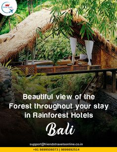beautiful view of the forest throughout your stay in Rain forest Hotels in #Bali with #FriendsTravels, Call to book #BaliTourPackage: +91 9899506073,9971595563