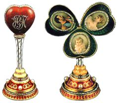 """The Mauve egg is a jewelled Easter egg made under the supervision of the Russian jeweller Peter Carl Fabergé in 1898, for Nicholas II of Russia, who presented it to his mother, the Dowager Empress Maria Feodorovna on April 18, 1897.[citation needed] One of seven eggs which are currently lost, Fabergé billed Nicholas II for the egg, described as a """"mauve enamel egg, with 3 miniatures"""" on May 17, 1897 for 3,250 rubles."""