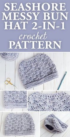 Let those messy buns and ponytails shine with this bun hat crochet pattern that will allow you to rock an up-do while staying warm. This Seashore Messy Bun Hat pattern is beginner friendly and can be customized using the yarn brand and color of your choice.