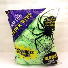 Green Spider Web (includes 3.53 ounces of green spider web in a pack; glows under black light)