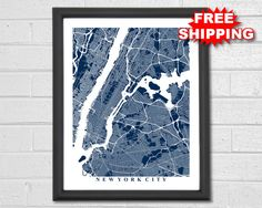 New York City Map Art  Map Print  New York  by TheMapCollection