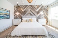 Legend Creek | Master Bedroom | Palms to Pines - Reclaimed wood wall