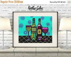 50% Off Today- DIGITAL Print File - Wine Bottles Art Poster Print of Painting, Wine Series by Heather Galler (HG44451) Wine Lovers Wine Gl