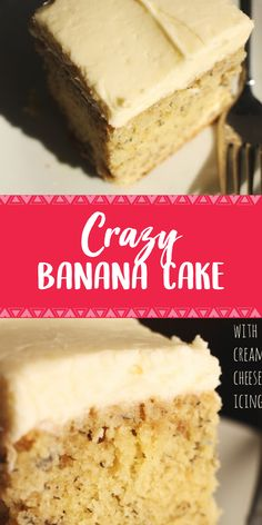 Crazy Banana Cake with Cream Cheese Icing - Banana Kuchen Best Dessert Recipes, Fun Desserts, Delicious Desserts, Cake Recipes, Yummy Food, Healthy Food, Cream Cheese Icing, Cake With Cream Cheese, Food Cakes