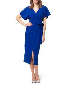 Blue midi V-neck slit dress  Sale - KABELLE Sale