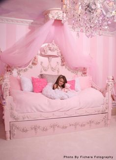 pink princess room. I love the striped wall but incorporate yellow for Emily's room