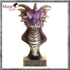 Cirgos Dragon Bust Figurine Ornament 17cm High. A stunningly colourful Dragon bust with amazing detailing that has been hand painted on quality cold cast resin. In shinning purples and golds with an ornate design on the base, this Pagan, Gothic Fantasy Dragon figurine looks fantastic in any room. Size, 17cm High Approx.