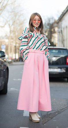 Pink wide leg trousers with 70s blouse