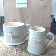 dog mugs by Jane Hogben