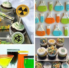 Mad Scientist party Love the cupcakes in the bottom corner and the colors.
