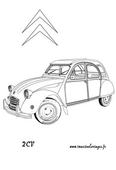 Super car Citroen 2cv coloring page for kids printable free coloring Cars coloring pages