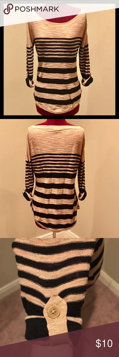 Express Tan and Black Striped Sweater Lightweight Tan and Black Express sweater.  The rolled sleeves are held in place by a button.  Size medium.  See last picture for small snag on bottom front of Sweater. Express Sweaters