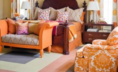 Orange damask - would love for my hand-me-down chairs to get covered in this!