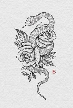 Dope Tattoos, Mini Tattoos, Unique Tattoos, Flower Tattoos, Body Art Tattoos, Small Tattoos, Sleeve Tattoos, Tattoos For Guys, Snake And Flowers Tattoo