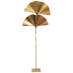 1 of 2 Huge Ginkgo Leaf Brass Floor Lamp by Tommaso Barbi | From a unique collection of antique and modern floor lamps at https://www.1stdibs.com/furniture/lighting/floor-lamps/