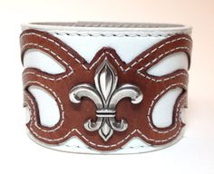 White leather cuff wing design with silver by ChristyKeysCreations, $35.00