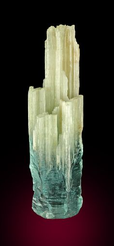 Double terminated Aquamarine with one side partly gemmy lustrous blue Aquamarine, the other side naturally etched straw-like crystals of Beryl - Brazil Minerals And Gemstones, Rocks And Minerals, Gem Stones, Stones And Crystals, Mineralogy, Cool Rocks, Rock Collection, Mineral Stone, Rocks And Gems