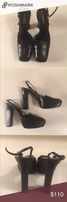 Prada black leather shoe size 36 Prada black leather high heel shoes with a 4 1/2 inch heel size 6. These shoes have never been worn. Prada Shoes Heels