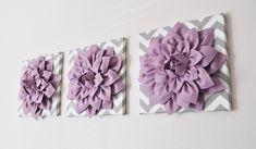 Wall Art -SET OF THREE Lilac Dahlia on Gray and White Chevron 12 x12 Canvas Wall Art- 3D Felt Flower. $93.00, via Etsy.