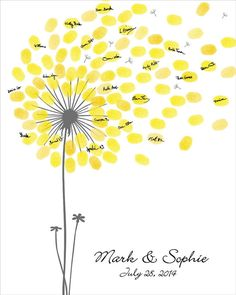 etsy.com / Wedding Guest Book, Dandelion Fingerprint Anniversary Poster, Baby Shower, Birthday - Printable JPEG - Custom color, size, text and language
