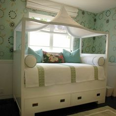 Adorable little girl's bed.