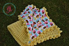 Cupcake Cutie Crochet and Cotton Stroller Blanket