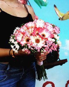 Wedding Bouquet...Gerbera Mini !  #weddingday #weddingbouquets #gerbera #bouvardia #pinkflowers #whiteflowers #fuchsiaflowers #gerberamini #floristshop #flowers #flowerlove #summerflowers #colourful #lovecolors Summer Flowers, White Flowers, Gerbera, Flower Art, Wedding Bouquets, Wedding Day, Mini, Color, Instagram