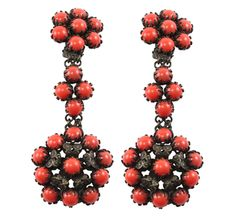 from the shops at TAIGAN  Unsigned Italian coral earrings, resemble flowers