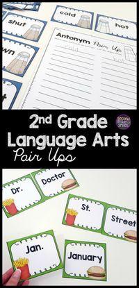 2nd Grade Language Arts Pair Ups Ela Match Ups Homeschooling