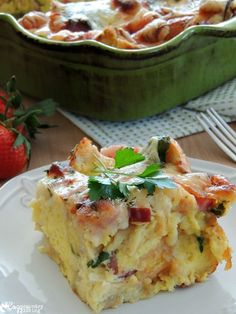 Delicious Cheesy Ham & Spinach Overnight Breakfast Casserole