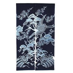 Japanese Indigo dyed Noren -  2-Panel Curtain Doorway TSURU Longevity Crane