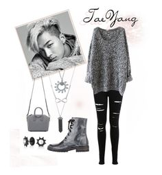 """TaeYang"" by vinne on Polyvore featuring Miss Selfridge, Givenchy, Karen Kane, Helix & Felix, Ann Demeulemeester, Bling Jewelry, bigbang, kpop, gray and taeyang"