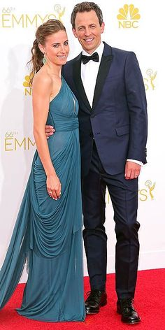 These two are such ridiculously beautiful people: Host Seth Meyers and wife Alexi Ashe on the red carpet for the 66th Primetime Emmys.