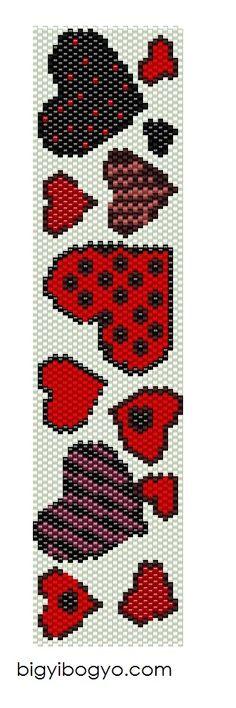 peyote heart bracelet #beading #beadwork #pattern #mosaic #peyote