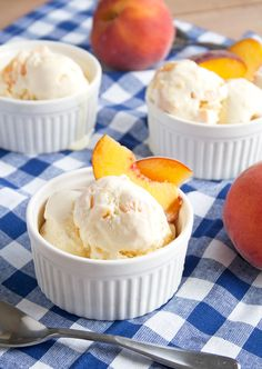 Juicy, ripe peaches and homemade vanilla ice cream create summertime in a scoop with this Peach Ice Cream recipe - easy to make and perfect for warm summer nights.