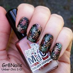 Fall nail art by Gr8Nails - Uber Chic 1-01 stamping plate