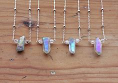 Raw Pastel Angel Aura Quartz Crystal Point Necklace - Rough Rainbow Layering Natural Titanium Crystals Gemstone Sterling Silver Plated Chain